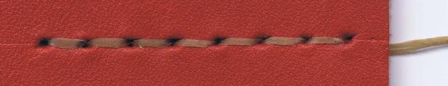 革(Smooth / レッド) x 糸(アンティークゴールド)